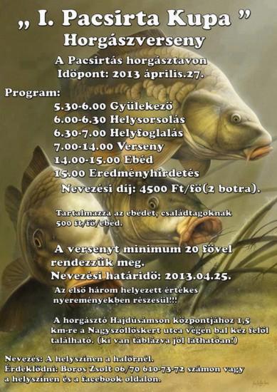 I. Pacsirta Kupa (versenykiírás)