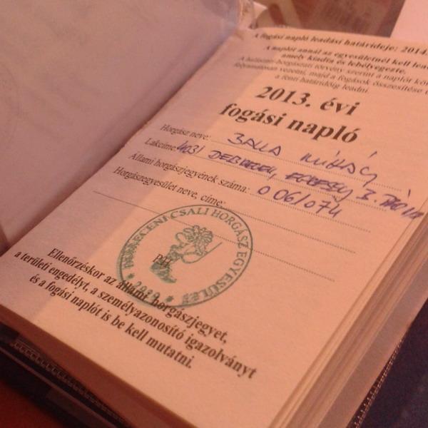 Fogási napló és 2015 évi engedélyek