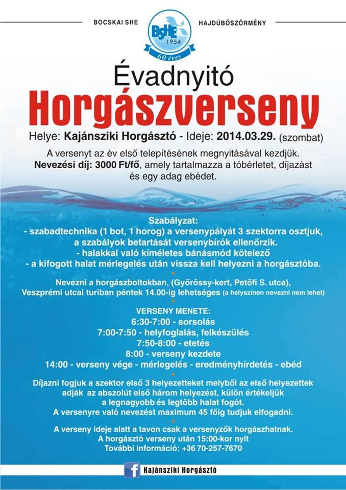 Évadnyitó horgászverseny a Kajánsziki horgásztavon (versenykiírás)