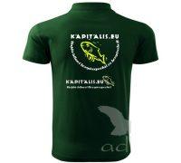 Kapitális horgászportál promó galléros póló (üvegzöld)