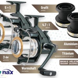 2 x Banax Helicon 5600 NF nyeletőfékes orsó (párban olcsóbb)