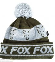 Fox Green and White lined bobble téli sapka